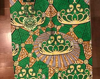 A6120 6 yards Green/ orange crown Design African Fabric/ African Wax print/ Ankara/ African Material/ cloth/ wrapper