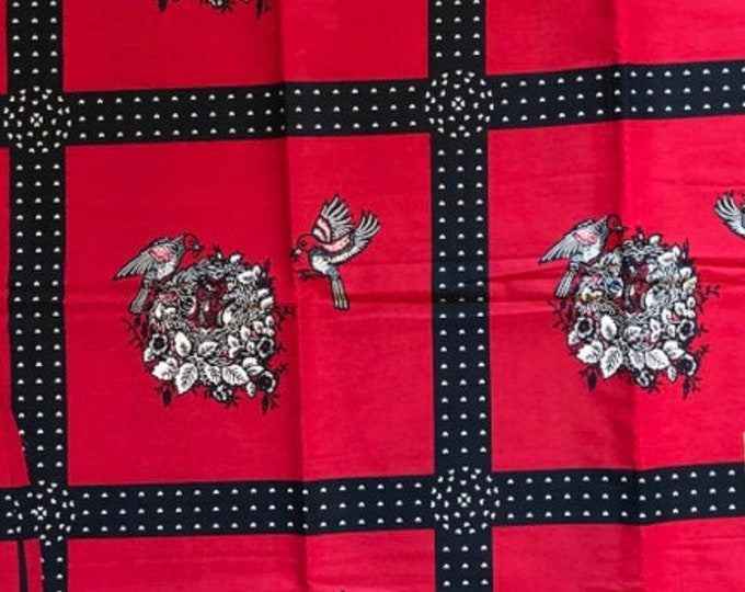 A1327 african fabric per yard  Black red Bird Obaatan / african print/ African clothing/ African home decor/ ethnic print/ African material
