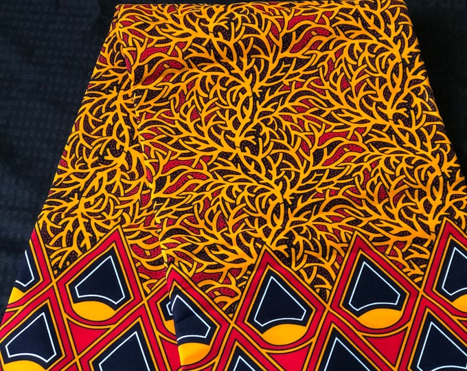 ORB13 African print per yard red orange vines cones African fabric/ African clothing/ African home decor/ ethnic print/ African material
