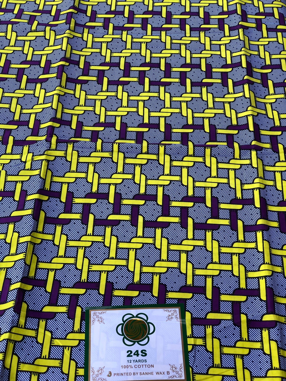 A6518 6yd jaune / purple maillon carré tissu africain Wax africaine africain Print / Ankara africaine Wax tissu africaine matière / tissu Nigéria/Ghana 325fe3