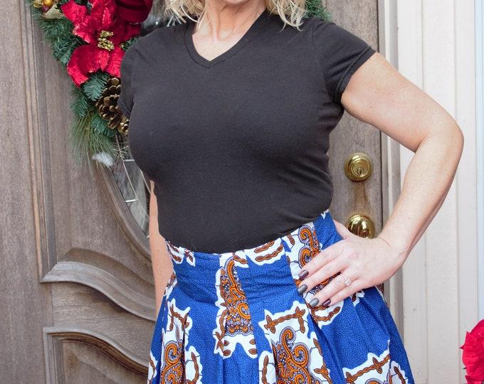 Blue white black knee length african fabric skirt with pockets / ethnic skirt / dashiki skirt / women wear/Ankara/African wax print skirt