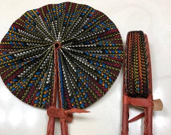 Blue beige brown Ankara african wedding favor ethnic print fabric round windmill style handmade hand fan with leather trim folding