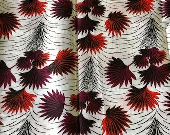 SK6 5 yards Silk white burgundy red orange leaf  ethnic print/ home decor print/ African ankara Wax print