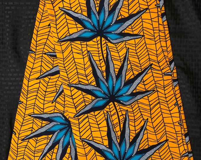 YB14 African fabric per yard yellow blue floral floral petal ankara/ african Wax Print/ ethnic print/ traditional print