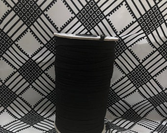 BE10 10 yards Quarter (1/4 )inch BLACK flat elastic/ african craft/ face masks/ hair bands