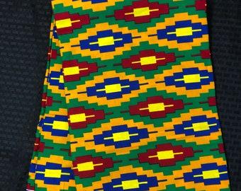 K156 african fabric per yard orange/ yellow/ red/ green kente/ kente Wax print/ kente cloth/ Material/head wrap