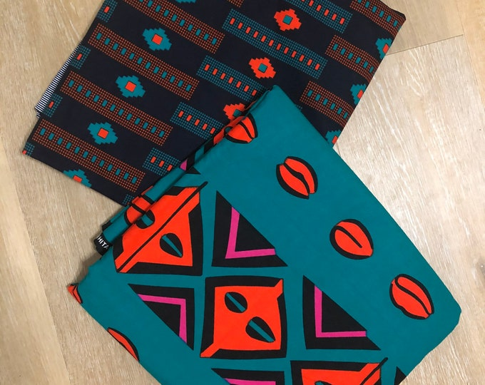 MDM15 3 yds each teal blue orange mud cloth print mix aNd Match African Wax/ African Fabric/ankara/ Material/ decor pillows