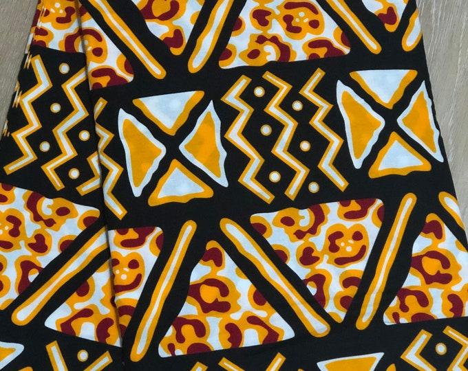 MC153 african fabric per yard Yellow / black Mudcloth  kente African Wax print: Ankara for Sewing Dresses/African art/tribal print