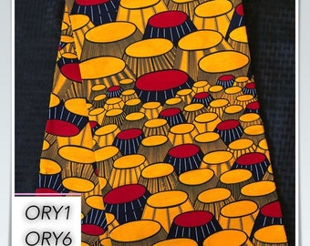 ORY6 6 yard orange/ yellow/ red/ banquet party table design african Fabric/ kente Wax print/ kente cloth/ Material/head wrap