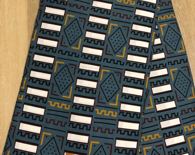 MC142 african fabric per yard blue  brown white mudcloth Design ankara/ african Material/ Cloth/ wrapper/