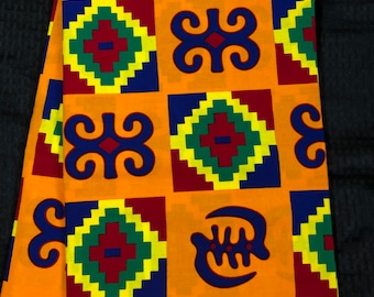 BK6 6 yard orange/mustard yellow purple/red/ green kente african Fabric/ kente Wax print/ kente cloth/ Material/head wrap
