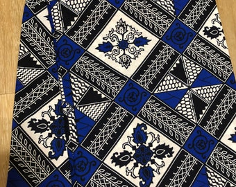 BWB62 6 yard Blue white  black linoleum geometric print design kitenge  African Fabric/African Wax print/ Ankara/ Sew Dress/ african t