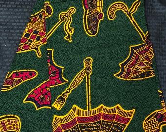 GOR6 6 yards  Green/ orange leaf shoe umbrella African Fabric/ African Wax print/ Ankara/ African Material/ cloth/ wrappera