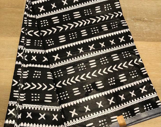 MC113 african fabric per yard Black white geometric mud cloth / ankara/ ethnic cloth/ traditional cloth/ home decor pillow/ Doll cloth