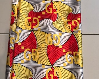 Multicolor 5 yards Silk Yellow/ Red/white dumbbell Design gorgeous African ankara Wax print