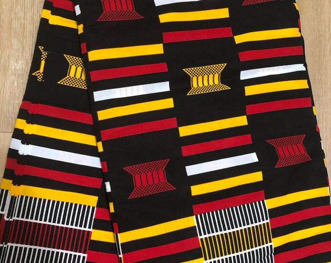 MC149 african fabric per yard Yellow / black red kente African Wax print: Ankara for Sewing Dresses/African art/tribal print