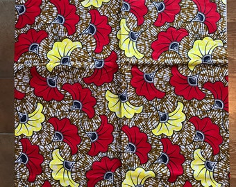 A687 6yds Vlisco red  yellow floral design ethnic print African fabric/ African Wax print/ Ankara/ African Cloth/ African Material