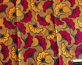 1 yd per yard red yellow flower salad petal design ethnic print African fabric/ African Wax print/ Ankara/ African Cloth/ African Material
