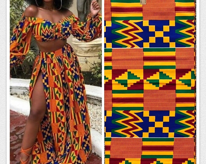 K119 african fabric kente per yard yellow/ red/ Blue kente Fabric/ kente Wax print/ kente cloth/ Material