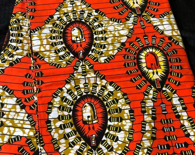 OW1 African fabric per yard brown orange white leaf   Ethnic Print/african home decor/ African Wax print/ Ankara
