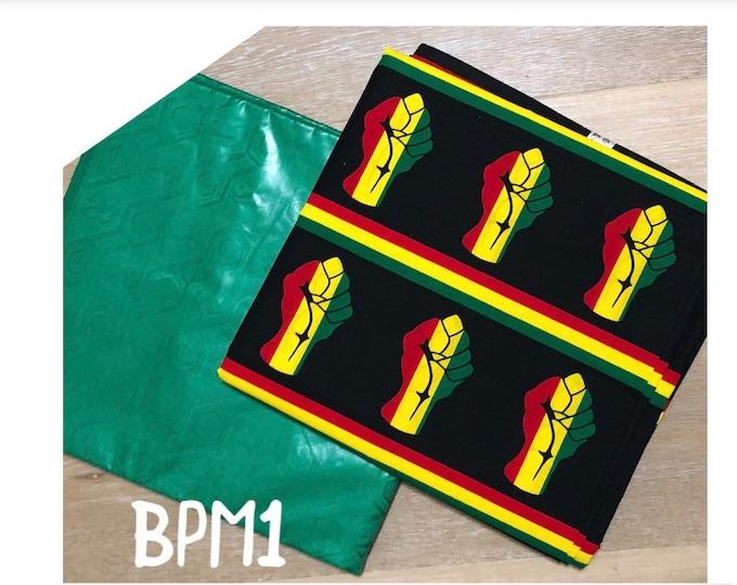 BPM1 black green Red yellow gold unity ankara Bazin Mix African Wax/ African Fabric/ankara/ Material/ decor pillows/ african cloth dolls
