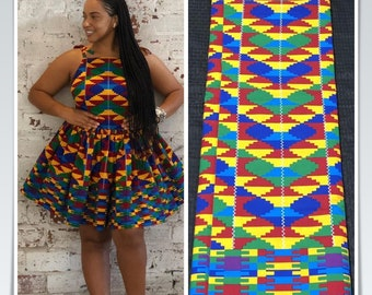 K610 6 yard yellow/ red/ Blue green kente tribal ethnic Ghanaian african Fabric/ kente Wax print/ kente cloth/ Material/head wrap