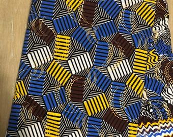 MC154 per yard yellow/ white Blue brown african Fabric/ kente Wax print/ kente cloth/ Material/head wrap/ethnic tribal print