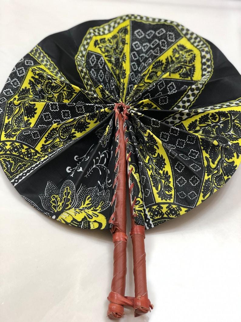 Black yellow  Ankara african wedding favor ethnic print fabric round windmill style handmade hand fan with leather trim folding