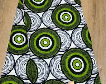 MC106  African fabric per yard  green white circle bullseye mud cloth Design / ankara/ african Material/ Cloth/ wrapper/Head tie