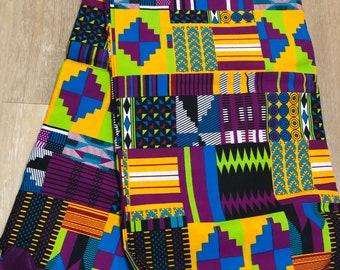 MC136 Per yard pink/purple yellow green kente african Fabric/ kente Wax print/ kente cloth/ Material/head wrap