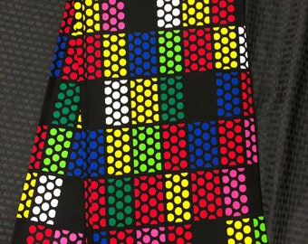 MC85 African fabric per yard multicolor green pink red yellow green square cube Design / ankara/ african Material/ Cloth/ wrapper/Head tie