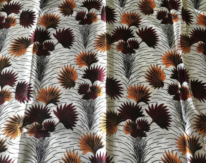 SK9 5 yards Silk white burgundy red yellow gold leaf  ethnic print/ home decor print/ African ankara Wax print