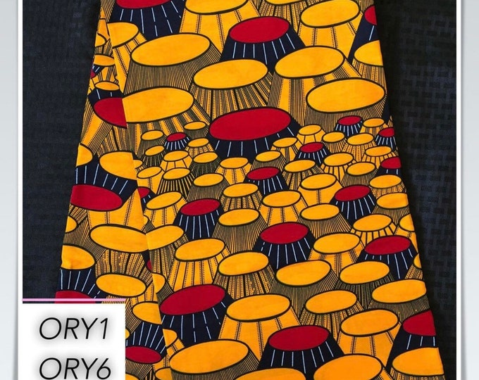 ORY1 african fabric per yard orange/ yellow/ red party banquet table design Wax print/ kente cloth/ Material/head wrap