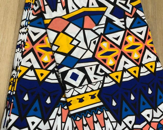 MC128 African fabric per yard Blue pink white orange mud cloth African Wax print/ Ankara/ Sew Dress/ african table napkins/ ho