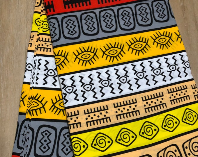 MC145 African fabric by yard White/ yellow black red Mudcloth/ African Wax print: Ankara for Sew Dresses/African art/tribal print