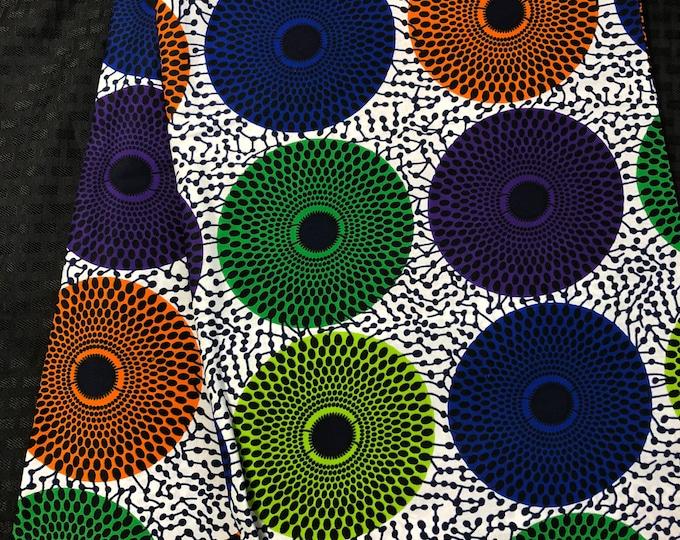 MC191 african fabric per yard bullseye multicolor orange purple blue white green Mudcloth Design ankara/ african Material/ Cloth/ wrapper