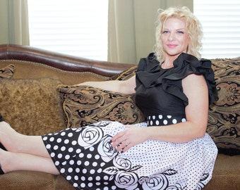 Black white polka dot knee length african fabric skirt / ethnic skirt / dashiki skirt / women wear/Ankara/African wax print skirt