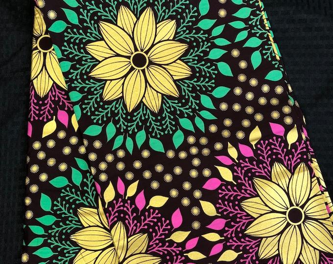 GP1 african fabric yard floral metallic Gold  Pink/ teal Green African Wax print/ Ankara/ African / Material/ Ghana/ Nigeria Fabric