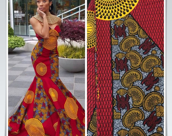 RY14 patchwork African fabric by yard White/ yellow black red / gold African Wax print: Ankara for Sew Dresses/African art/tribal print