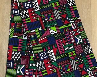 MC134 Per yard pink/ yellow green kente african Fabric/ kente Wax print/ kente cloth/ Material/head wrap