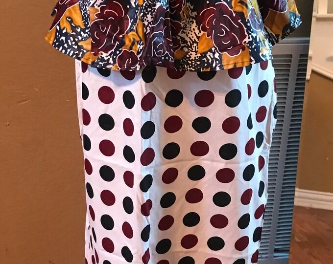 Large Black white burgundy polka dot peplum midi fabric skirt / ethnic skirt / dashiki skirt / women wear/Ankara/African wax print skirt