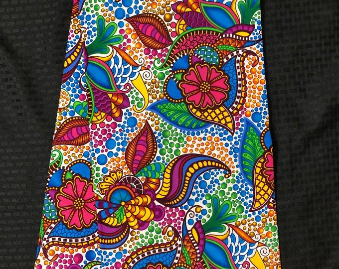MC78  per yard yellow/ pink Blue green floral fiesta paisley african Fabric/ kente Wax print/ cloth/ Material/head wrap/ethnic tribal print