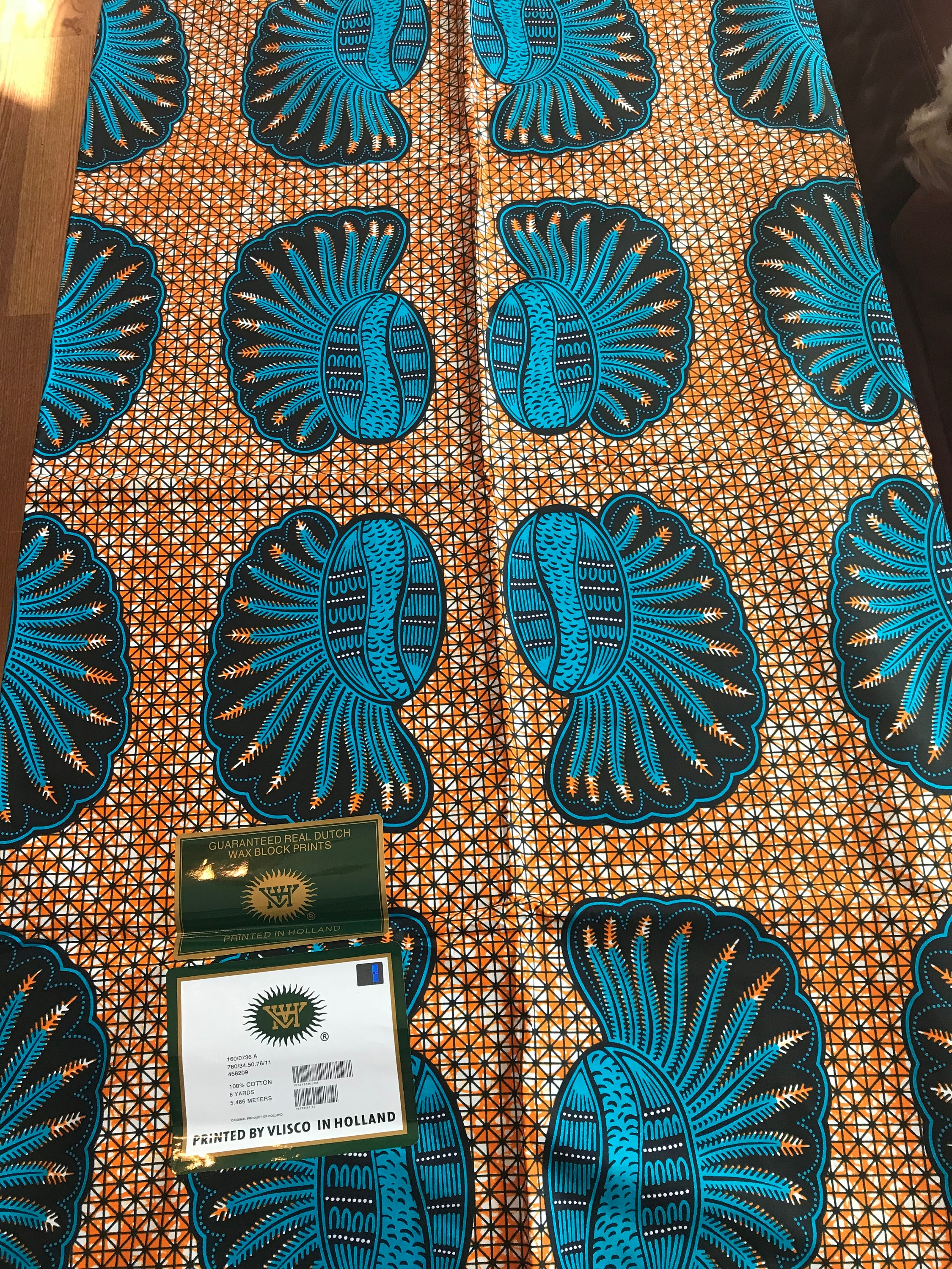A6215 6yd Orange Blue Kwadusa Peacock Africa Fabric African Wax