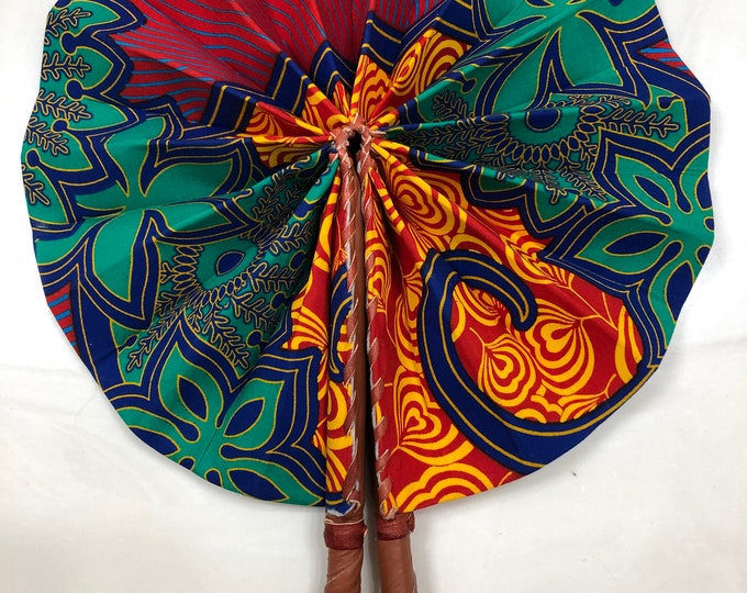 Teal Green red yellow Ankara african wedding favor ethnic print fabric round windmill style handmade hand fan with leather trim folding