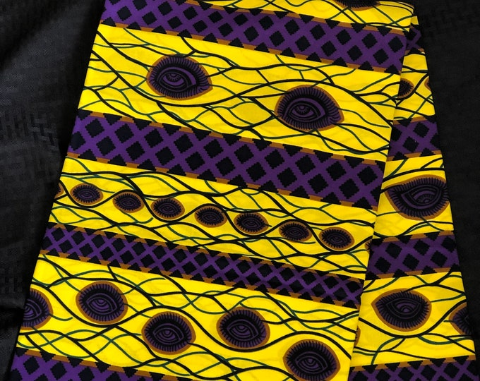 YP1 yellow purple Eye African Fabric Per yard /African Wax print/ Ankara for Sewing/African Decor/Throw pillows/art and craft