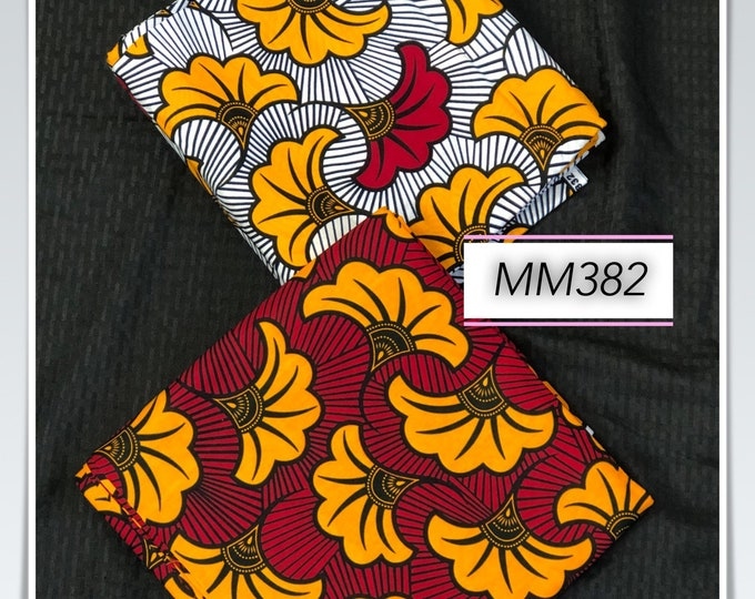 MM382 3 yards each sALAD design Mix Match african fabric pair Red/ Yellow / ankara/ african Wax Print/ ethnic print/ African Material/ Doll