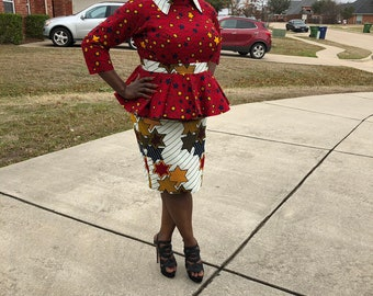 US Size 16/18 XL 100% cotton white/red mix match  fabric pair African fabric peplum blouse with collar and skirt women's