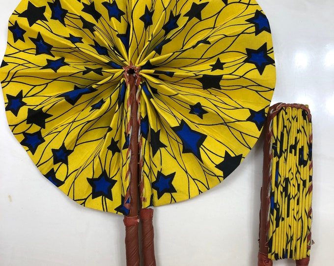 Blue yellow star Ankara african wedding favor ethnic print fabric round windmill style handmade hand fan with leather trim folding