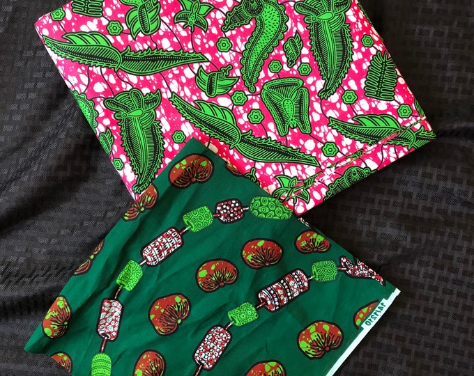 MM446 3 yards Each fuschia Pink /kelly green white Mix and Match African Fabric/ ankara/ african print/ Material/ ethnic print/Doll cloth