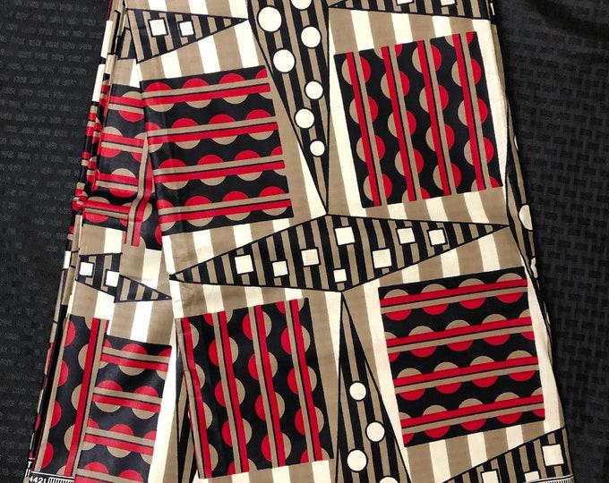MC49 african fabric per yard White/ black red mud cloth African Wax print: Ankara for Sewing Dresses/African art/tribal print